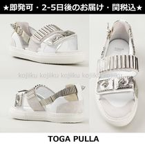 TOGA Open Toe Platform Plain Leather Platform & Wedge Sandals
