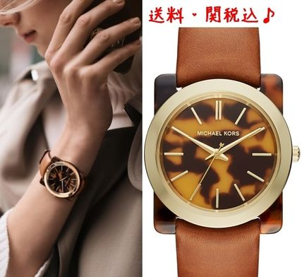 Appear in drama MK tortoiseshell Leather watches