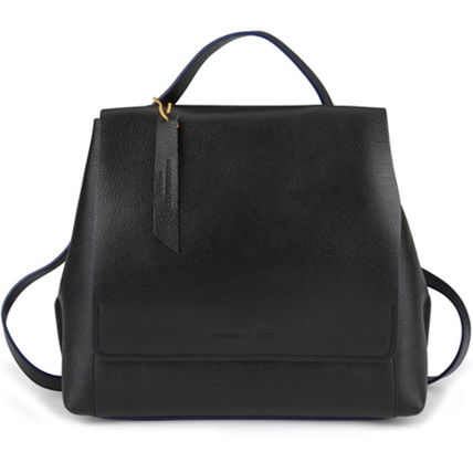 Street Style 2WAY Plain Leather Office Style Backpacks