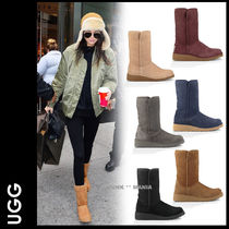 UGG Australia AMIE Casual Style Sheepskin Plain Wedge Boots