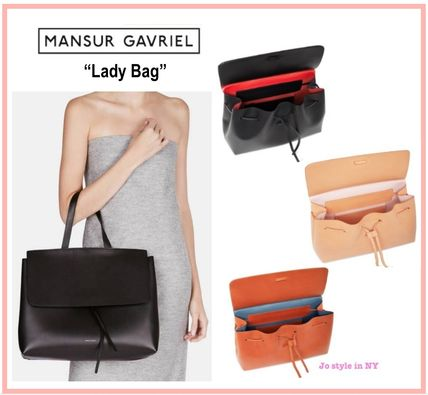 MANSUR GAVRIEL A4 2WAY Plain Leather Elegant Style Shoulder Bags