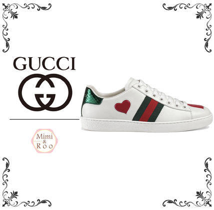GUCCI Heart Round Toe Rubber Sole Casual Style Leather