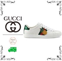 GUCCI Round Toe Rubber Sole Casual Style Leather Low-Top Sneakers