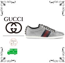 GUCCI Round Toe Rubber Sole Casual Style Studded Plain