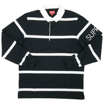 Supreme Polos Pul Stripes Street Style Long Sleeves Cotton