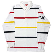 Supreme Pullovers Stripes Street Style Long Sleeves Cotton Polos