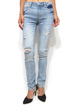 Denim Plain Long Skinny Jeans