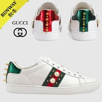 GUCCI Plain Toe Plain Leather Low-Top Sneakers