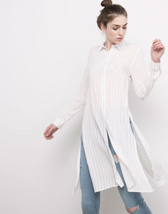 PULL & BEAR Stripes Long Sleeves Plain Long Tunics