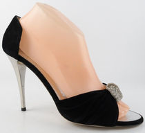 GIUSEPPE ZANOTTI Open Toe Suede Plain Pin Heels Party Style With Jewels