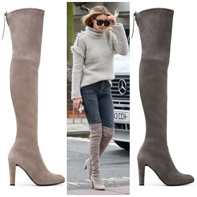Gigi knee high boots HIGHLAND charcoal tape