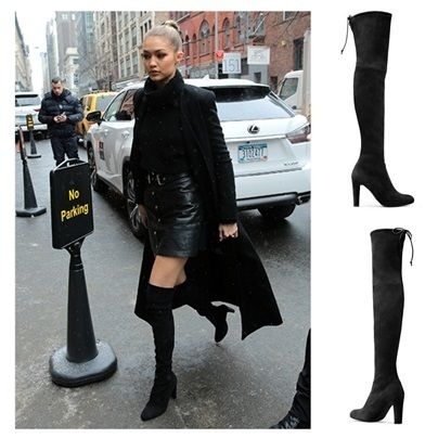 SW Black Suede Knee Her Boots HIGHLAND