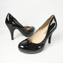 Platform Round Toe Enamel Plain Office Style