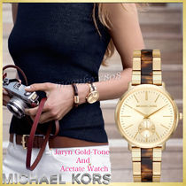 Michael Kors Blended Fabrics Round Quartz Watches Stainless Office Style