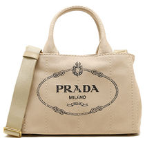PRADA CANAPA Canvas 2WAY Plain Party Style Totes