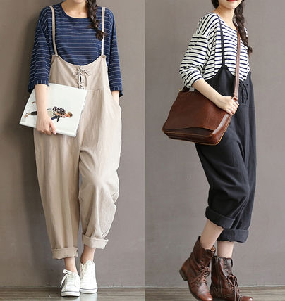 Dungarees Casual Style Linen Sleeveless Plain Long
