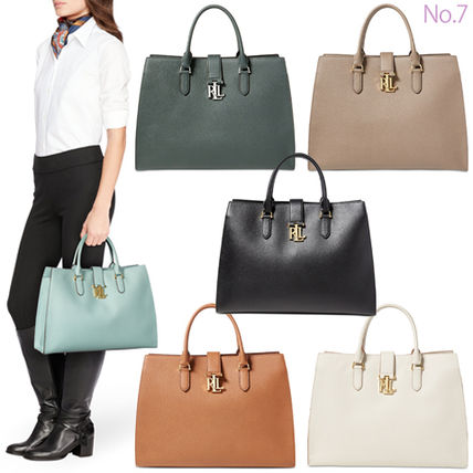 Street Style A4 2WAY Plain Leather Office Style Totes