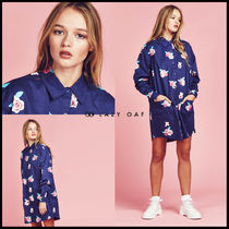 LAZY OAF Flower Patterns Casual Style Unisex Long Sleeves Plain