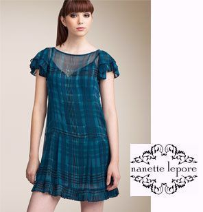 Other Check Patterns Silk Flared Boat Neck Short Sleeves