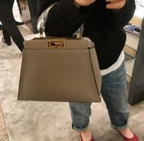 FENDI PEEKABOO 2WAY Plain Leather Elegant Style Shoulder Bags
