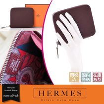 HERMES Silk In Unisex Leather Coin Purses