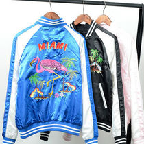 Short Tropical Patterns Unisex Plain Souvenir Jackets