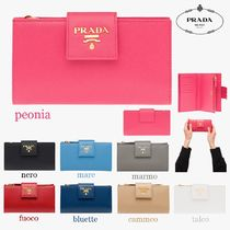 PRADA Saffiano Plain Folding Wallets
