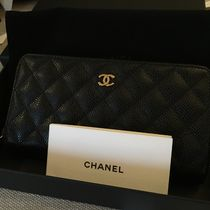 CHANEL MATELASSE Long black caviar skin matelasse with gold tone metal wallet
