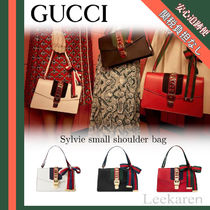 GUCCI Sylvie Leather Elegant Style Shoulder Bags