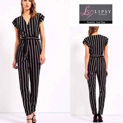 Boohoo striped wrap front jumpsuits