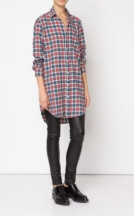 Short Other Check Patterns Casual Style Long Sleeves Cotton