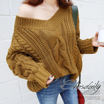 Cable Knit V-Neck Long Sleeves Plain Medium Oversized