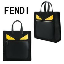 FENDI BAG BUGS Monster Face Roll Small Tote Bag With Front Pocket / Black