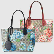 GUCCI Flower Patterns Leather Totes