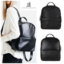 STATUS ANXIETY Casual Style Unisex A4 Plain Leather Backpacks