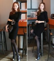 Casual Style Tight U-Neck Bi-color Medium Midi Dresses