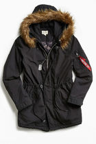 ALPHA INDUSTRIES Faux Fur Street Style Plain Long Parkas