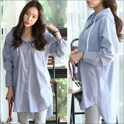 Shirts & Blouses Stripes Casual Style Long Sleeves Cotton Long