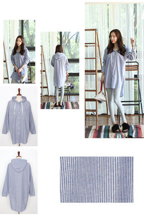 Shirts & Blouses Stripes Casual Style Long Sleeves Cotton Long 6