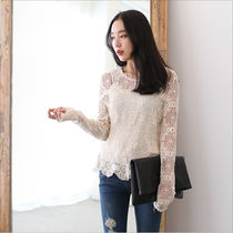 Flower Patterns Lace-up Long Sleeves Medium Elegant Style