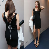 Crew Neck Short Casual Style Tight Sleeveless Plain Dresses