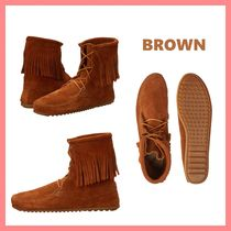 Minnetonka Round Toe Casual Style Suede Plain Ankle & Booties Boots