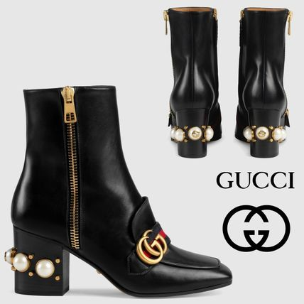 87b1361f949 GUCCI 2017-18AW Square Toe Plain Leather Block Heels High Heel Boots  (432060 DKHC0 1061)