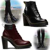 Dr Martens Casual Style Street Style Plain Leather Block Heels