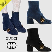 GUCCI GG Marmont Plain Toe Suede Plain Block Heels High Heel Boots