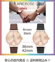 KLASSE14 Leather Round Party Style Quartz Watches Analog Watches