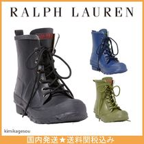 Ralph Lauren Round Toe Lace-up Casual Style Plain Lace-up Boots