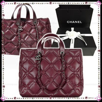 CHANEL Calfskin A4 2WAY Elegant Style Handbags