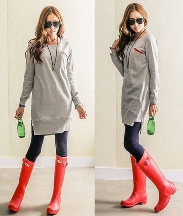 Casual Style Sweat U-Neck Long Sleeves Long Oversized