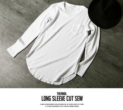 Long Sleeve Crew Neck Pullovers Street Style Long Sleeves Plain Cotton